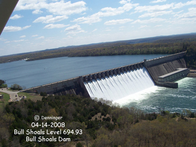 Bull Shoals Lake Dam at the highest level on record - 964.93' on April 14, 2008 - Photo by Alfred Denninger, Fishing Guide
